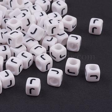 Acrylic Beads, Cube, Letter.J, 6x6x6mm, hole: 3.2mm, 20pcs/set(OACR-TA0001-03J)