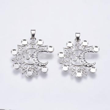 Alloy Pendant Cabochon Settings, Chakra Jewelry Findings, Moon & Om Symbol, Platinum, Tray: 4mm, 39x35x2mm, Hole: 4x6.5mm(X-PALLOY-K143-04P)