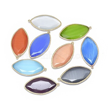 Cat Eye Pendants, with Brass Findings, Horse Eye, Faceted, Golden, Mixed Color, 39.5x20.5~21x4mm, Hole: 1.2mm(G-E526-19)