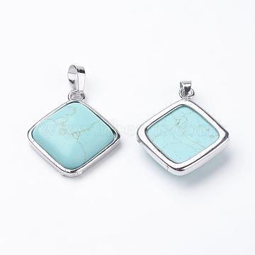 Platinum Rhombus Synthetic Turquoise Pendants