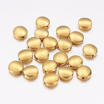Tibetan Style Alloy Beads, Cadmium Free & Nickel Free & Lead Free, Antique Golden Color, Flat Round, about 9mm in diameter, 4mm thick, hole: 1mm(X-GLF10214Y-NF)