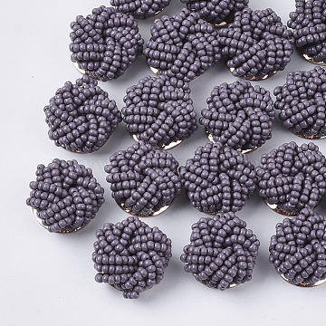 Glass Seed Beads Cabochons, Cluster Beads, with Golden Plated Iron Perforated Disc Settings, Flower, DarkSlate Blue, 19~20x10~12mm(X-FIND-S321-05F)