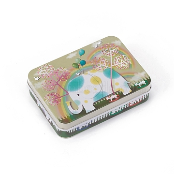 Tinplate Storage Box, Jewelry Box, for DIY Candles, Dry Storage, Spices, Tea, Candy, Party Favors, Rectangle with Elephant Pattern, Colorful, 9.6x7x2.2cm(X-CON-G005-B02)