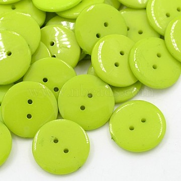 Acrylic Sewing Buttons, Plastic Buttons for Costume Design, 2-Hole, Dyed, Flat Round, YellowGreen, 22x3mm, Hole: 1mm(BUTT-E084-D-03)