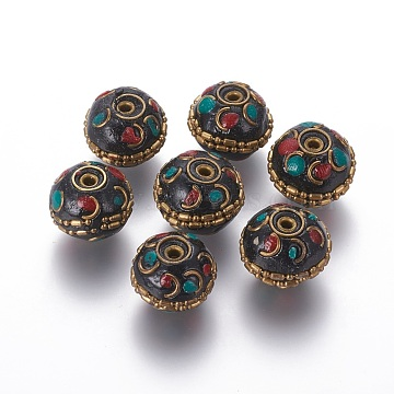 Handmade Indonesia Beads, with Brass Findings, Round, Unplated, Colorful, 17~19x14~15mm, Hole: 1.6mm(IPDL-F028-09A)