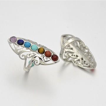 Chakra Jewelry Vintage Filigree Brass Gemstone Wide Band Rings, Lead Free & Nickel Free, Platinum, 19mm(X-RJEW-N022-01-FF)