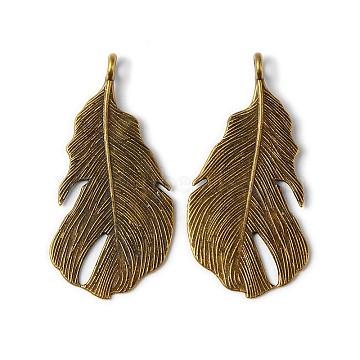 Antique Bronze Feather Alloy Pendants