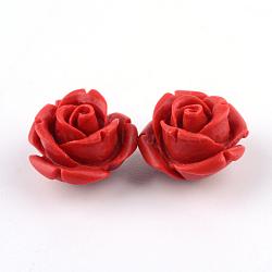Cinnabar Beads, Rose, FireBrick, 12.5x12.5x9.5mm, Hole: 1.5mm(X-CARL-Q004-74B)