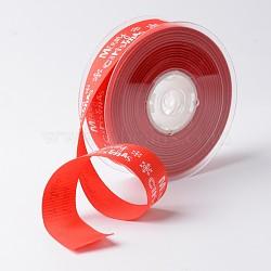 """Joyeux Noël avec ruban gros-grain de polyester de flocon de neige pour noël, rouge, 1"""" (25 mm); environ 100yards / rouleau (91.44m / rouleau)(SRIB-K002-25mm-G01)"""
