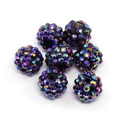 Бусины со стразами из смолы, многоцветные, круглые, синие, 14x12 мм, отверстие : 2 мм(RESI-S257-14mm-SB6)