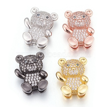 Mixed Color Clear Bear Brass+Cubic Zirconia Slide Charms