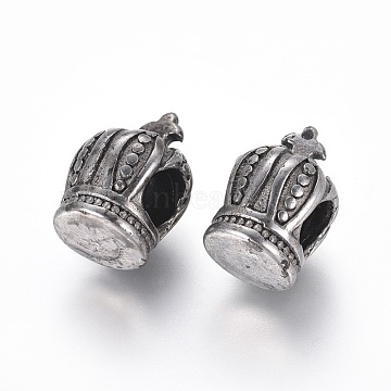 304 Stainless Steel European Beads, Large Hole Beads, Crown, Antique Silver, 14x9x10mm, Hole: 4.5~5mm(STAS-I121-20AS)