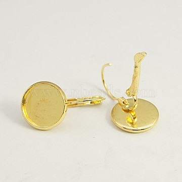 Brass Leverback Earring Findings, Lead Free and Cadmium Free, Golden, Size: about 14mm wide, 25mm long, 12mm inner diameter(X-KK-C1244-G)