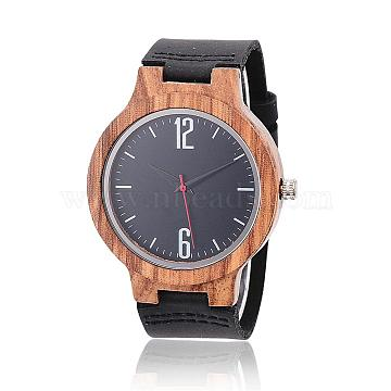 Zebrano Wood Wristwatches, Men Electronic Watch, with Leather Watchbands and Alloy Findings, Black, 260x23x2mm; Watch Head: 55x45x12.5mm; Watch Face: 37mm(WACH-H037-03)