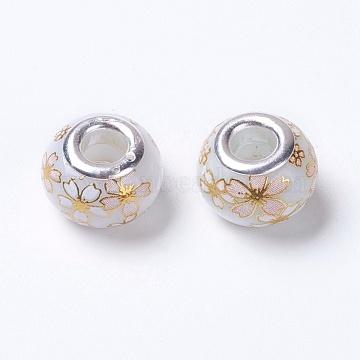 15mm GhostWhite Rondelle Glass Beads