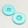 Resin Buttons, Dyed, Flat Round, Cyan, 16x3mm, Hole: 2mm