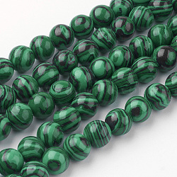 Chapelets de perles en malachite synthétique, rond, 8~8.5mm, trou: 1mm; environ 45~47 pcs/chapelet, 14.9'' (38 cm)(G-G735-70-8mm)