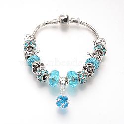 """Bracelets européens, avec des perles en strass alliage de style tibétain, perles de résine et chaînes en laiton, argent antique, rond, aigue-marine, 7-7/8"""" (200 mm)(BJEW-S124-11A)"""