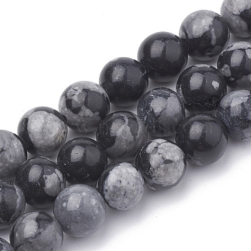 Synthetic Snowflake Obsidian Beads Strands, Round, 8mm, Hole: 1mm; about 48pcs/strand, 15.5inches(G-R342-8mm-21)