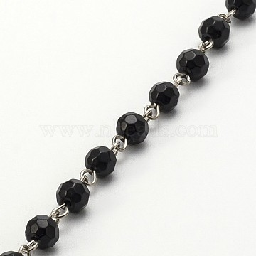 Handmade Faceted Round Glass Beads Chains for Necklaces Bracelets Making, with Iron Eye Pin, Unwelded, Black, 39.3 inches, about 94pcs/strand(X-AJEW-JB00084-02)