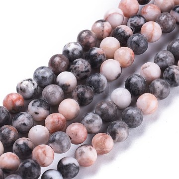 Natural Pink Zebra Jasper Beads Strands, Round, 6.3~6.5mm, Hole: 1.2mm; about 63pcs/Strand, 14.96 inches(38cm)(G-K410-04-6mm)