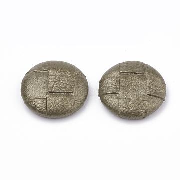 Imitation Leather Covered Cabochons, with Aluminum Bottom, Half Round/Dome, Platinum, DarkOliveGreen, 25x6~7mm(WOVE-N006-02C)