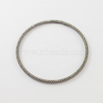 "Эластичные железные браслеты, серые, 2-1/4"" (56 мм)(X-BJEW-R154-8)"