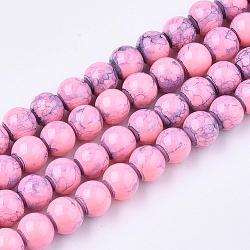"""Волочильные стеклянные бусины ниток, круглые, жемчужно-розовые, 6 мм; отверстие: 1.3~1.6 мм; около 133 шт / нитка, 31.4""""(X-GLAD-S075-6mm-68)"""