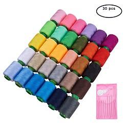 30 assortiment de cordons de fils à coudre en polyester de couleur avec 10 aiguilles en fer et un enfile-aiguille 1 pcs, couleur mélangée, 0.1 mm; 400 m / roll (437.44 yards / roll); 30 rolls / box(NWIR-BC0001-01)
