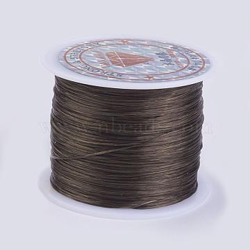 Flat Elastic Crystal String, Elastic Beading Thread, for Stretch Bracelet Making, Coffee, 0.5mm, about 49.21 yards(45m)/roll(X-EW-P002-0.5mm-A20)