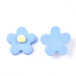 Cabochons en pâte polymère manuels, fleur, Bleu ciel, 24x24x8.5mm(CLAY-S091-17C)