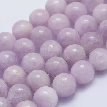 Natural Kunzite Beads Strands, Spodumene Beads, Round, Grade A-, 10mm, Hole: 1mm; about 39pcs/strand, 15.3 inches(39cm)(G-L478-13-10mm)
