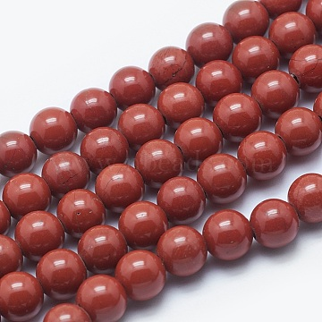 Natural Red Jasper Beads Strands, Round, 8mm, Hole: 2mm; about 48pcs/strand, 15.3inches(G-K287-18-8mm)
