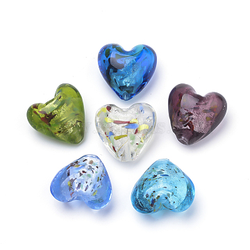 Handmade Silver Foil Lampwork Beads, Heart, Mixed Color, 21x20x13mm, Hole: 2mm(X-FOIL-S011-21x20mm-M)