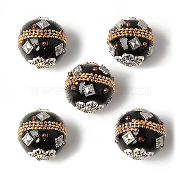 Handmade Indonesia Round Beads, with Glass Cabochons and Antique Silver Metal Color Double Alloy Cores, Black, 19~20mm, Hole: 3mm(IPDL-R443-01)