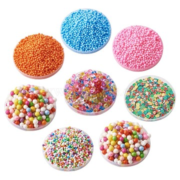DIY Slime Mud Making Tools Kits, Foam Beads Balls & Polymer Clay Decoration Accessories, Mixed Color(DIY-TA0001-13)