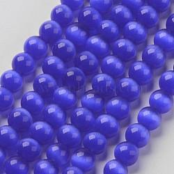 perles oeil de chat, arrondir, mediumblue, 6 mm, trou: 1 mm; environ 66 perle / brin, 14.5 / brin(X-CER04)