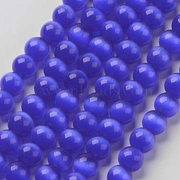 Cat Eye Beads, Round, Medium Blue, 6mm, Hole: 1mm; about 66pcs/strand, 14.5 inches/strand(X-CER04)