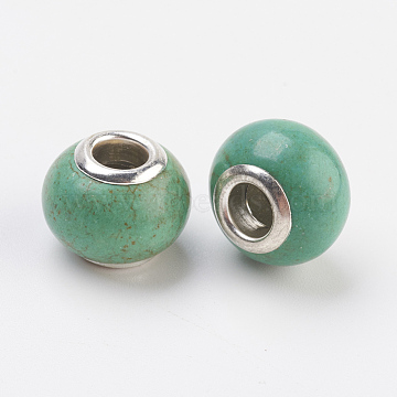 14mm DarkSeaGreen Rondelle Synthetic Turquoise Beads