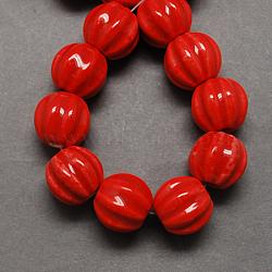 Perles en porcelaine manuelles, porcelaine émaillée lumineux, citrouille, rouge, 13x12mm, Trou: 2mm(PORC-Q204-6)