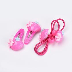 Ensembles d'accessoires pour cheveux adorables enfants, pinces à cheveux en plastique et fer, avec de la résine de fraise, couleur mélangée, 39 mm; élastiques à cheveux: 2 pcs, clip: 2 pcs / sac; 10 sacs / groupe(OHAR-S193-44)