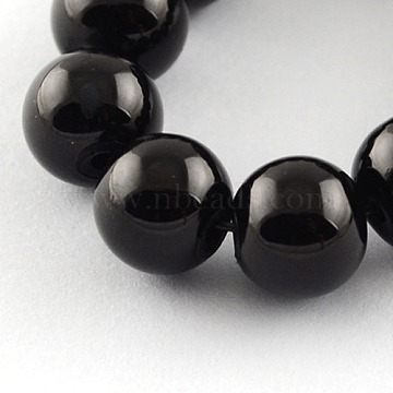 Painted Glass Bead Strands, Baking Paint, Round, Black, 6mm, Hole: 1.3~1.6mm; about 133pcs/strand, 31.4 inches(X-DGLA-S071-6mm-90)