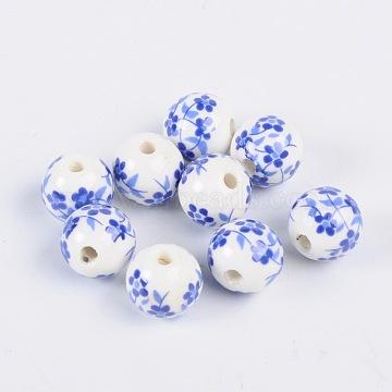 Handmade Printed Porcelain Beads, Round, Dodger Blue, 12mm, Hole: 3mm(X-CF189Y)