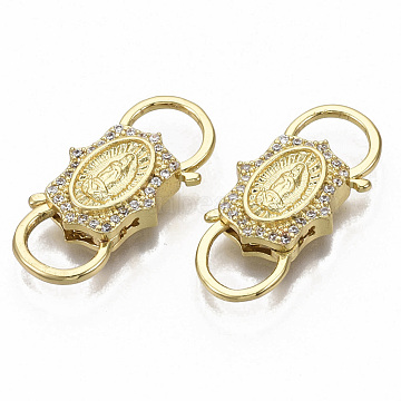 Brass Micro Pave Clear Cubic Zirconia Clasps, Nickel Free, Saint, Real 16K Gold Plated, 26.5x12x4.5mm(ZIRC-R110-008-NF)