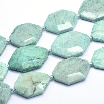 Natural Amazonite Beads Strands, Faceted, Oval, 35~40x25~28x7.5~9mm, Hole: 2.5mm; about 10pcs/strand, 16.1inches(41cm)(G-K223-40A)
