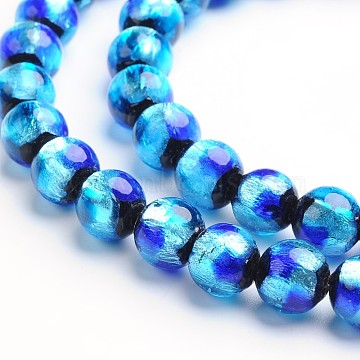 8mm DodgerBlue Round Silver Foil Beads