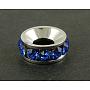 10mm Bleu Foncé Rondelle Laiton Strass Perles D'Écartement(X-RSB097-4)