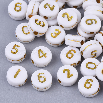 Plating Acrylic Beads, Golden Metal Enlaced, Flat Round with Number, White, Mixed, 7x4mm, Hole: 1.2mm, about 340pcs/50g.(X-PACR-R243-02)