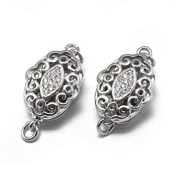 Platinum Clear Oval Sterling Silver Clasps