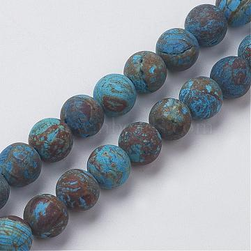 Natural Chrysocolla Round Bead Strands, Dyed & Heated, Frosted, 10mm, Hole: 1.2mm; about 36pcs/strand, 15.5inches(39.5cm)(G-G969-10mm)